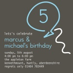 Double Neon Blue -  Twin Birthday Invitations