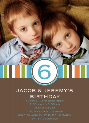 Kids Birthday Invitations, Twin Super Stripe Design