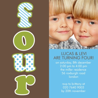 Kids Birthday Invitations, Double Fabulous Fours Design