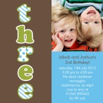 Twin Tremendous Threes -  Twin Birthday Invitations