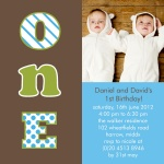 Number One Boys -  Twin Birthday Invitations