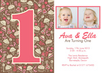 Our Twins Party Sweets -  Twin Birthday Invitations