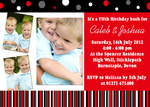Double Red Cherry Bash -  Twin Birthday Invitations