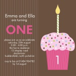 Twin Strawberry Cupcakes - Twin Party Invitations