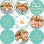 Double Smiles 'n Winks - Twin Party Invitations