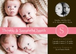 Super Girls - Twin Birth Announcement Cards