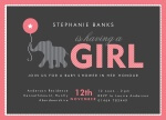 Baby Elephant Girl - Baby Girl Shower Invitations