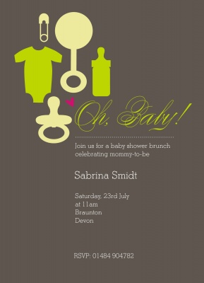 Baby Shower Invites , Baby Bag Green Design