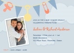 Rattles n' Pins Blue - Couples Baby Shower Invitations
