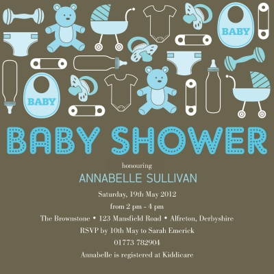 Baby Shower Invites , Baby Puzzle Blue Design