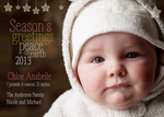 Peaceful Stars -  Christmas Birth Announcement Cards