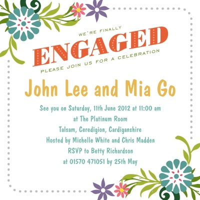 Engagement Party Invitations, Party Petals White Design