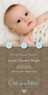 Birth Announcement Cards, Special Blue Buttons Design