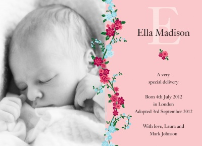 Birth Announcement Cards, Special Climbing Rose Design