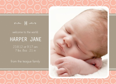 Birth Announcement Cards, Sweet Circle Welcome Design