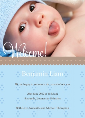 Birth Announcement Cards, Perfect Welcome Blue Design