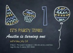 Boy Birthday Invitations - Blackboard B-day