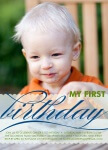 Boy Photo Birthday Party Invitations - Blue Pattern