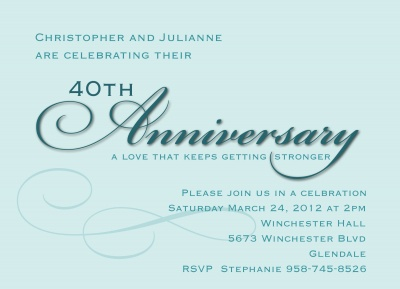 Wedding Anniversary Invitations, Blue Script Design
