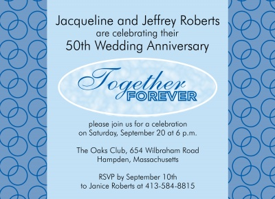 Wedding Anniversary Invitations, Encircled Blue Design