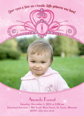 Kids Birthday Invitations, Pink Tiara Design