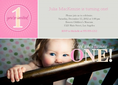 Kids Birthday Invitations, Pink Peek A Boo Design