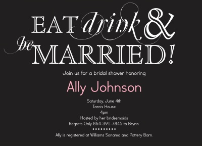 Bridal Shower Invitations, Wise Words Grey Design