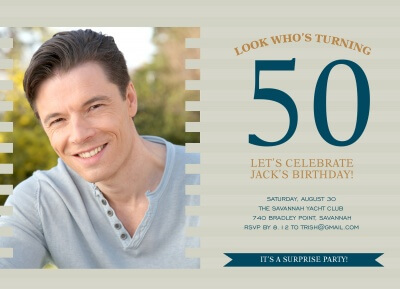 Adult Birthday Party Invitations, Navy Photo Block Design