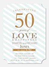 Anniversary Invitations - Blue Anniversary Stripe