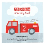 Boy Birthday Party Invitations - Lil Firetruck