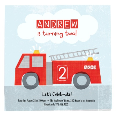 Kids Birthday Invitations, Lil Firetruck Design
