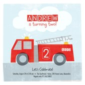 Photo Birthday Invitations - Lil Firetruck