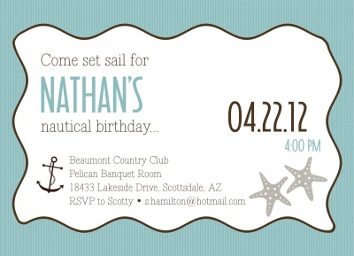 Adult Birthday Party Invitations, Anchor Drop Design