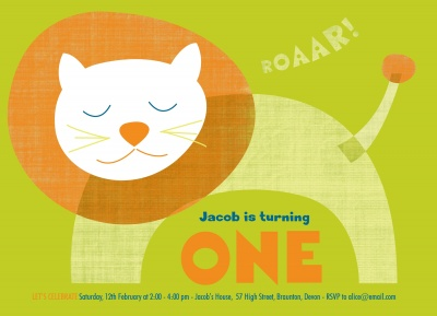 Kids Birthday Invitations, Lion Love Design