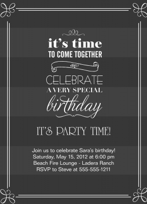 Adult Birthday Party Invitations, Party Bands Design