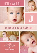 Birth Announcements for Girls - Pink Puzzle Pieces