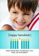 Blue Hanukkah Flame - Hanukkah photo cards