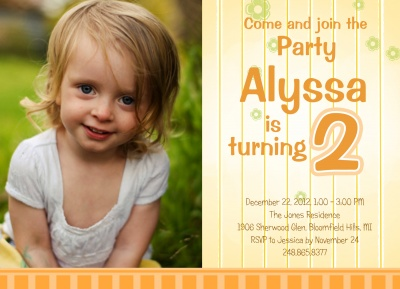 Kids Birthday Invitations, Picket Fence Design