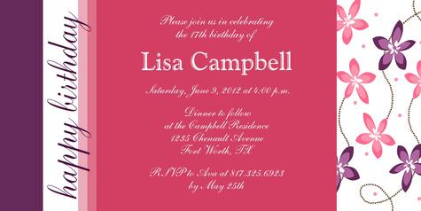 Teen Birthday Invitations, Simply Pretty Design