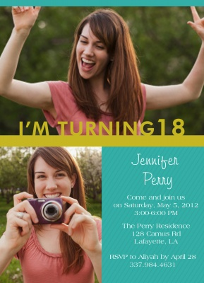 Teen Birthday Invitations, Gold Band Design