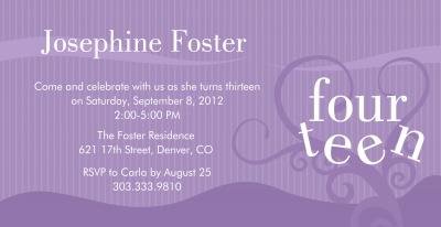 Teen Birthday Invitations, Lavender Sweet Design