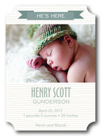 He's Here -  Birth Announcements for Boys
