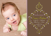 Floral Initial -  Birth Announcements for Girls