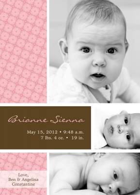 Birth Announcements, Nursery Print Pink Design