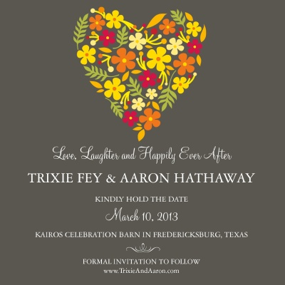 Save the Date Cards, Floral Heart Date Design