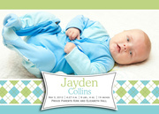 Birth Announcements for Boys - Argyle Babydoll Blue
