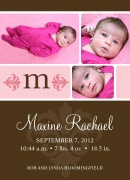 Fuschia Initial - Baby Girl Announcements