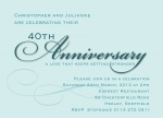 Blue Script -  Wedding Anniversary Invitations
