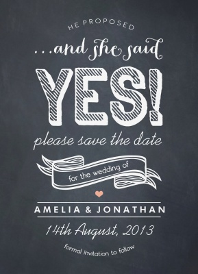 Save the Date Cards, Chalkboard News Date Design