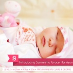 Strawberry Love -  Baby Girl Birth Announcements